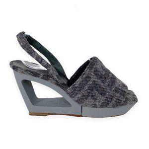 Vintage 90s Fendi Cut Out Wedge Slingback Heels